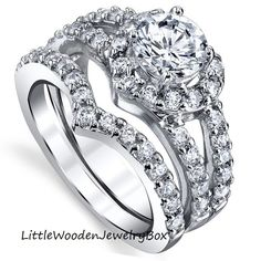 Sterling Silver White Gold Round Diamond Simulant Engagement Ring Wedding Set
