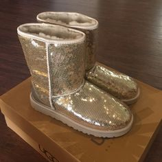 New UGG Sequin Boots New in box 100% authentic UGG silver sequin boots size 8. Holographic tags as shown in photo UGG Shoes Winter & Rain Boots
