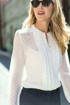 Camisa blanca puntos cuello mao