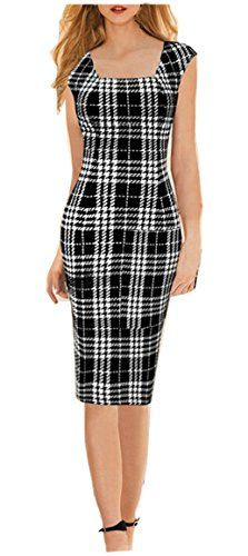 YEEZ Womens Square Neck Wear to Work Black Block Party Formal Pencil Dress BlackLarge *** For more information, visit image link.  This link participates in Amazon Service LLC Associates Program, a program designed to let participant earn advertising fees by advertising and linking to Amazon.com.