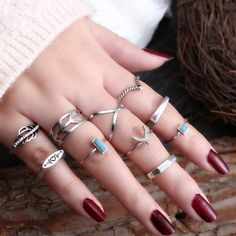 Punk Women, Heart Crown, Jewelry Quotes, Star Flower, Boho Rings, Stones And Crystals, Wedding Jewelry, Women Jewelry, Silver Rings