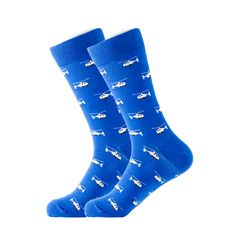 Take flight in our blue helicopter socks. Featuring white helicopters on a blue background these socks will add an extra touch to your outfit. Made with 80% Cotton, 17% Nylon, and 3% Spandex, these Unisex socks are perfect for US Size 7.5-12.5 feet. Crazy Socks, Cool Socks, Blue Socks, Novelty Socks, Dress Socks, Helicopters, Baby Accessories, Blue Backgrounds, Brand You