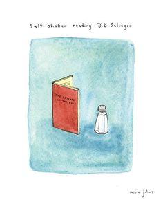 Salt shaker reading JD Salinger - $20 signed print