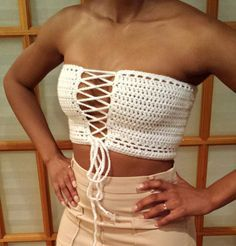 Sexy Crochet Open Tie Tube Top by ascrochets17 on Etsy