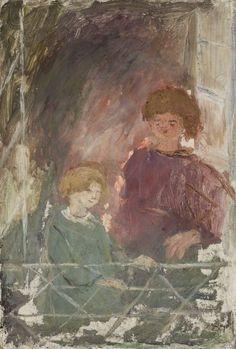 Dwoje dzieci na balkonie - Tadeusz Makowski