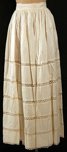 Petticoat Date: 1850–59 Culture: American or European Medium: cotton Dimensions: L. at center back: 40 ½ in. (102.8 cm).