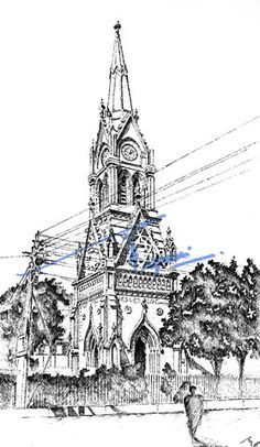Mereweather Tower, Karachi. Pen and ink sketch on pastel sheet, drawn with a 0.1mm rapido.  By: Zehra Naqavi (Architect/artist)  Year: 1996
