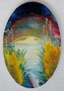 """kayak"", oil-painting, 20x30cm oval tendenz: symbolizm"