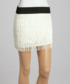 Love this Ivory Fringe Skirt on #zulily! #zulilyfinds