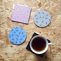 Memphis Pattern Coasters Set Of Four Pastel Pink Blue Grey Black And White Abstract Modern Home Decor