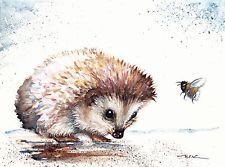 Original Watercolour Painting by Be Coventry,Animals,Realism,Hedgehog & Bee