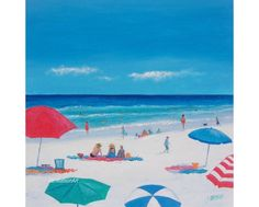 Beach Decor with umbrellas and people Canvas 24x24 by JanMatsonArt, $295.00