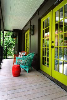 Love the color scheme...  Aqua/red/green    Artists Studio in Houston - eclectic - porch - houston - by Greymark Construction Company