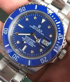 Rolex Submariner Steel Blue Diamond Face / Bezel - Model 116610