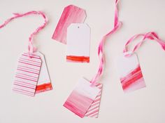 Aquarelle for Gift tags and some dip-dye ribbons - pretty from Poppytalk