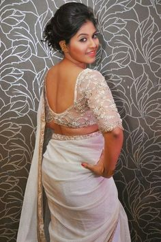 South Actress Anjali wearing White Wrinkle Chiffon Saree
