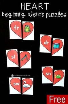Work on beginning blends with your kindergartner with these FREE February themed puzzles! Kindergarten Centers, Kindergarten Reading, Literacy Centers, Literacy Games, Early Literacy, Kindergarten Phonics, Teaching Phonics, Preschool Literacy, Literacy Stations