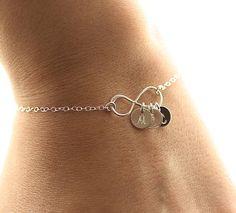 Infinity Bracelet, Three Initial Bracelet, Sterling Silver Infinity Bracelet, Bridesmaids Bracelet, Mothers Bracelet, Personalized Bracelet via Etsy