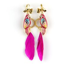 Colorful enamel parrot pink feather dangle earrings, ER-587