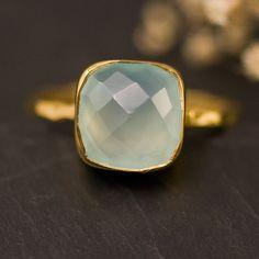 Cushion Cut Aqua Blue Ring