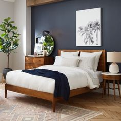Stylish 41 Inspiring Black And White Bedroom Design Ideas That Looks So Elegant. Bedroom Colors, Home Decor Bedroom, Modern Bedroom, Bedroom Wall, Mid Century Modern Master Bedroom, West Elm Bedroom, Blue Master Bedroom, Condo Bedroom, Bedroom Color Schemes