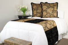 Antique Velvet Luxury Bed Runner and Toss Pillow by Fabrinique