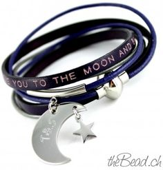 """leather bracelet """" love you to the moon and back """""""