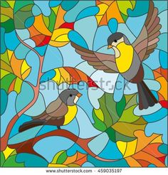Illustration in stained glass style on the theme of autumn, two Tits in the sky and maple leaves - buy this stock vector on Shutterstock & find other images. Glass Painting Designs, Stained Glass Designs, Stained Glass Patterns, Paint Designs, Stained Glass Quilt, Stained Glass Windows, Vogel Illustration, Butterfly Cross Stitch, Easy Drawings