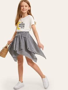 To find out about the Girls Mixed Print Top & Knot Front Gingham Hanky Skirt at SHEIN, part of our latest Girls Two-piece Outfits ready to shop online today! Girls Fashion Clothes, Teen Fashion Outfits, Tween Fashion, Casual Outfits, Girl Clothing, Fashion Fashion, Cute Girl Outfits, Kids Outfits Girls, Cute Outfits For Kids