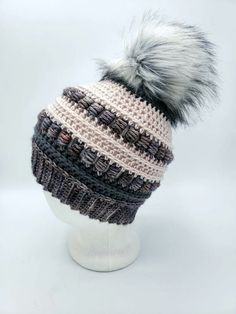 Merino Wool Beanie in Pink and Gray by OhanaBoutiqueCrochet on Etsy Pink Grey, Gray, White Hibiscus, Faux Fur Pom Pom, Ohana, Merino Wool, Winter Hats, Crochet Hats, Beanie