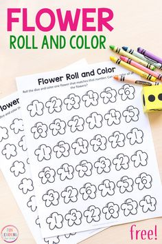 This flower roll and color math activity is a fun way for kids to learn numbers 1-20. Perfect for spring math centers! #springactivities #springcenters #mathcenters #preschool #kindergarten