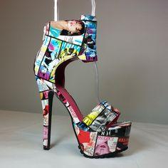 Newspaper print open toe sandal heels in patent leatherette #cutesyoriginals