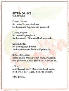 Bitte – Danke – Dankgebet | Herbstzeit Poems About School, German Language Learning, Leaf Crafts, Learn German, Sylvester Stallone, Feeling Happy, What Is Life About, Art Education, Storytelling