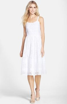 Adrianna Papell Eyelet Cotton Fit & Flare Midi Dress available at #Nordstrom