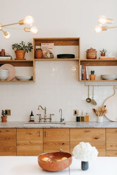 Modern Kitchen Interior Design Trends: Tile and Wood Kitchen Cabinetry - Going for a natural look in your kitchen? Wood cabinetry offers an effect that can range from modern to craftsman and guess what? It pairs easily with our handmade tile Home Decor Kitchen, Interior Design Kitchen, Interior Decorating, Room Kitchen, Bar Kitchen, Decorating Ideas, Kitchen Ideas, Kitchen Tables, Country Kitchen