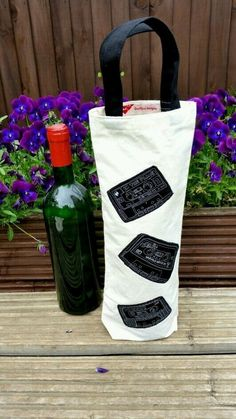 'Retro cassettes' fabric bottle bag  £4.00 made by Dollychops.uk