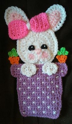 Crochet Bunny In A Vase Potholder Pattern Only by 3ThreadinBettys