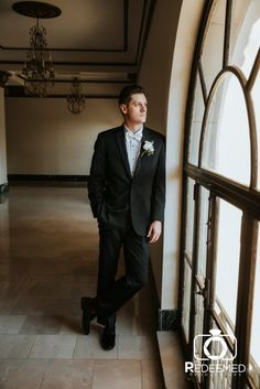 Gorgeous window light portrait from Katie + Kyle's timeless wedding at the Mayo Hotel in Tulsa, OK