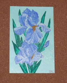 Original Painting / Magnet Iris Flower by LadyBugCo on Etsy, $7.00
