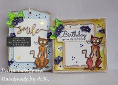 A card with a tag. Birthday set.