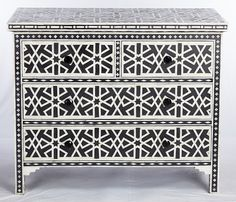 Mother of Pearl - Black French bombe style, meticulously crafted chest of drawers in a beautifully carved shape. Grand, Luxurious, Intricate