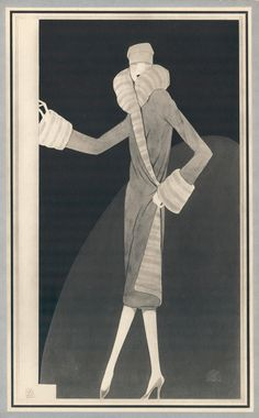 Woman wearing fitted coat with luxurious fur trim. Trade Catalogue | Reynaldo Luza, Revillon Frères