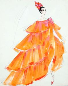EDITH HEAD - Watercolor and pencil on paper design sketch for unknown film Fashion Art, Retro Fashion, Vintage Fashion, Fashion Design, Fashion History, Miss Sixty, Twiggy, Fashion Illustration Vintage, Fashion Illustrations