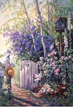 Discussion on LiveInternet – Russian Service On… American artist Sandra Bergeron. Discussion on LiveInternet – Russian Service Online diary Beautiful Paintings, Beautiful Landscapes, Beautiful Gardens, Garden Gates, Garden Art, Art Floral, Belle Image Nature, Watercolor Paintings, Original Paintings