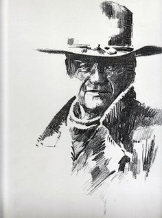 John Wayne sketch from an old photograph by Russell Ballantyne - Dunway Enterprises Westerns, Storyboard, John Wayne Movies, Cowboys And Indians, Cowboy Art, Movie Poster Art, Western Movies, Le Far West, Old West