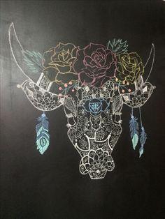 Taurus girl zodiac symbol drawing chalk art wall mural mandala tattoo idea feather flower crown