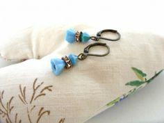 Opaque Blue Czech Glass Flower Drop Earrings | JO JO DE BULMER MISI Handmade Shop