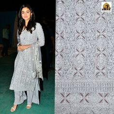 With this one #Grey #Lucknowi #Chikankari Suit, Alia wears her fun-loving persona on her sleeve. The #bollywoodactress looks super cute in this lovely steel grey #Chikansuit with silver #embroidery paired with a dupatta #embellished with #Chikankari stitches. If you want to look classy & stylish in one frame #Ada will surely help you by providing a similar Chikankari beautifully designed by our artisan.#Ada #Adachikan #onlineshopping #ethnicwear #Worldwideshipping #Bollywoodstyles #indianfashion