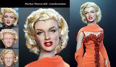Marilyn Monroe custom doll repaint transformation by noeling.deviantart.com on @deviantART