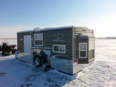 ice shanty | JR's Ice Shack Rentals serves Pickeral, Waubay, Enemy Swim, Bitter and ... Ice Fishing Shanty, Ice Shanty, Bitter, Recreational Vehicles, Swimming, Places, Jr, Swim, Camper